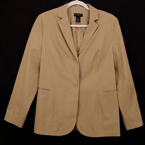 ANN TAYLOR STRETCH Womens Tan Career Blazer Jacket